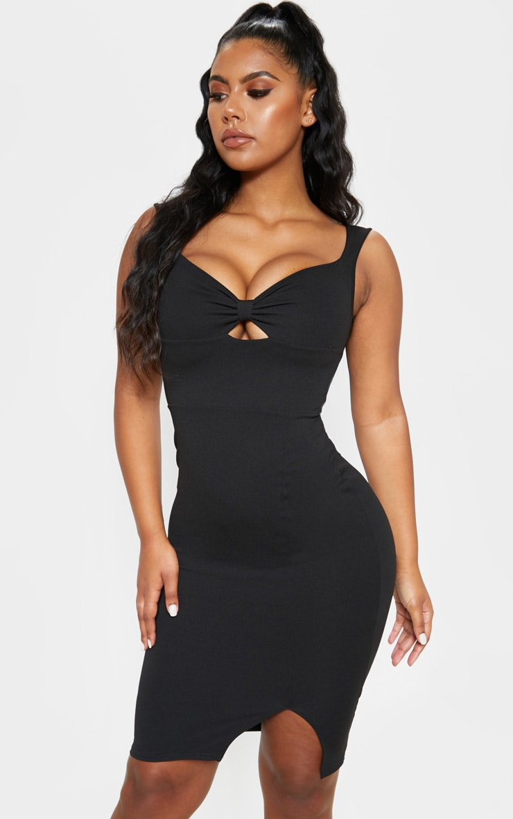 Black Knot Front Plunge Bodycon Dress 4