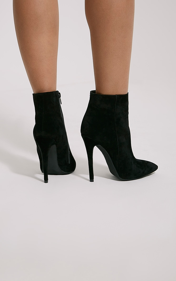 Yeni Black Suede Heeled Ankle Boots 2