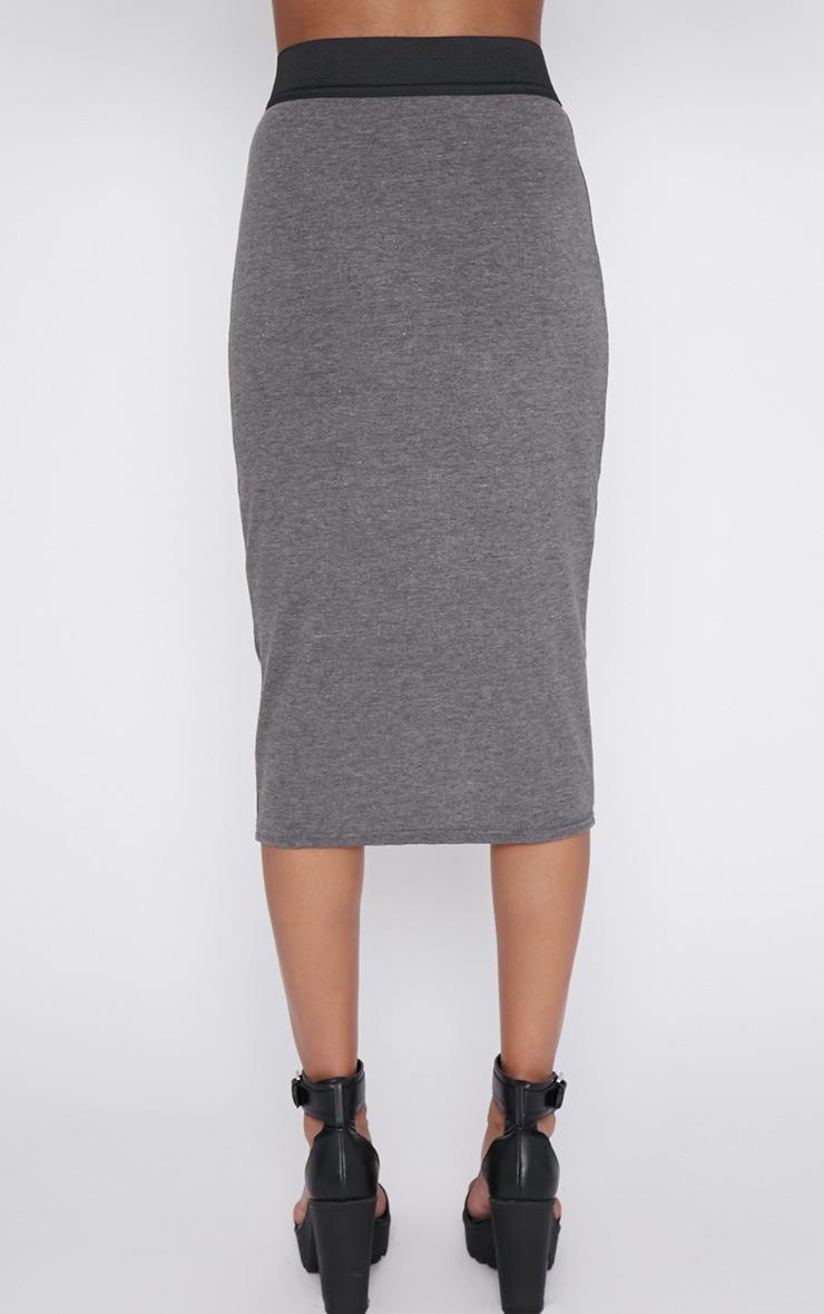 Tamika Charcoal Jersey Midi Skirt  2