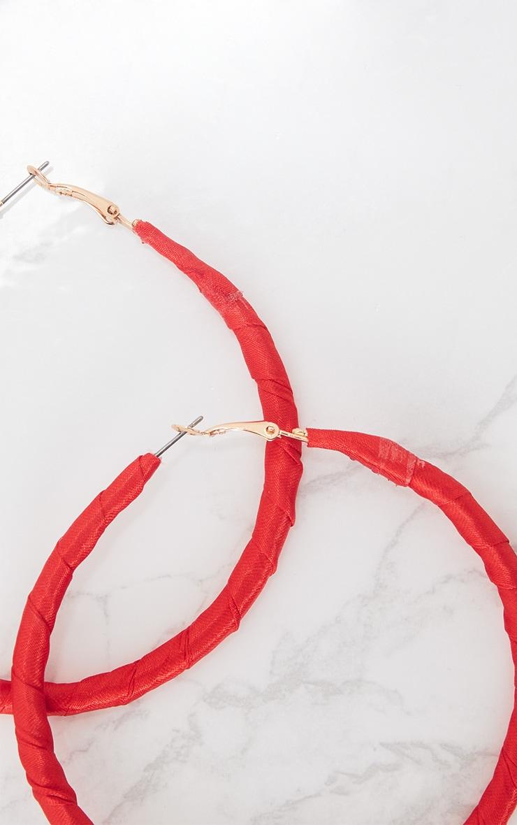 Red Satin Wrap Hoop Earrings 5