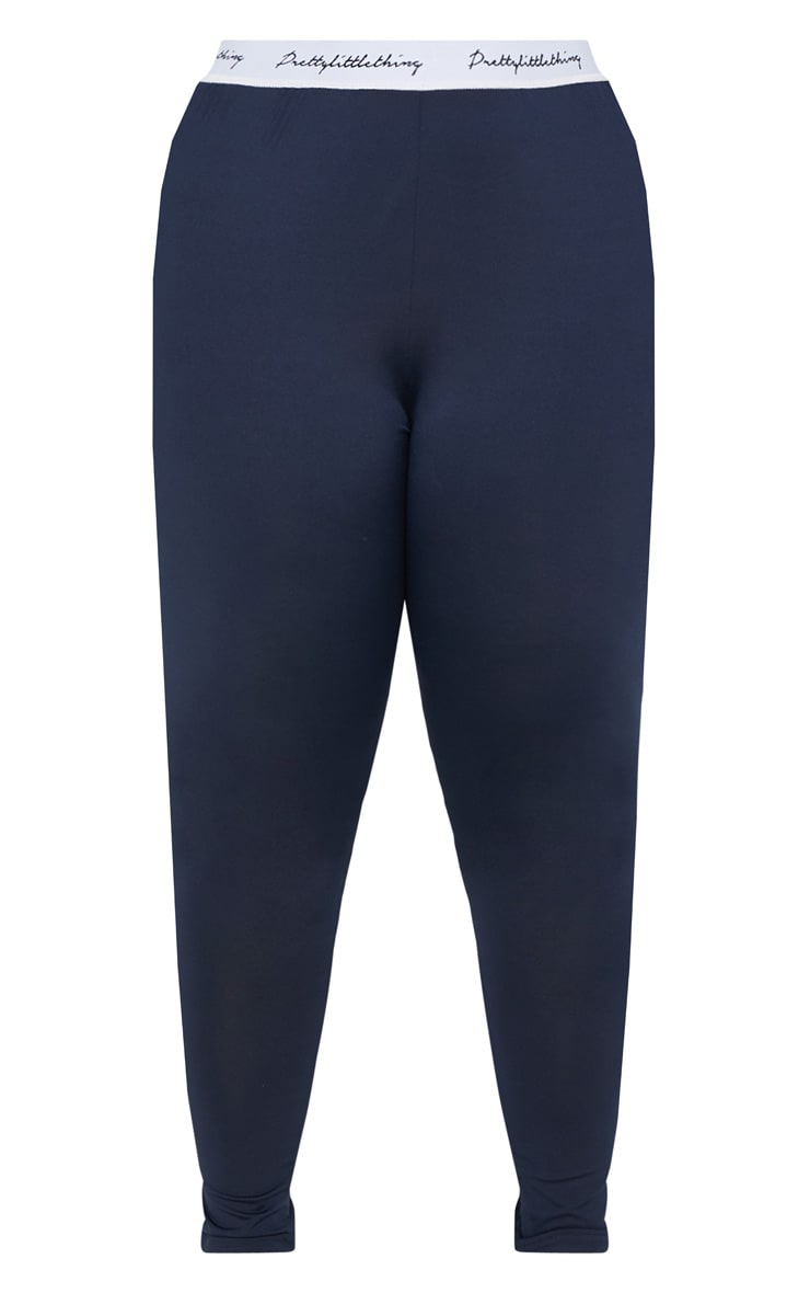 PRETTYLITTLETHING Plus Navy Elasticated Band Leggings 3