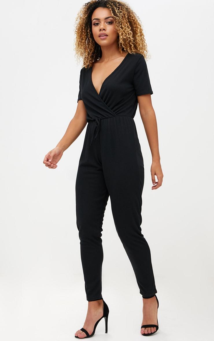Black Ribbed Wrap Jumpsuit 4