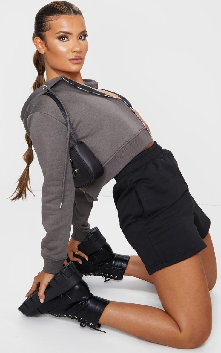 Black Sweat Pocket Shorts 4