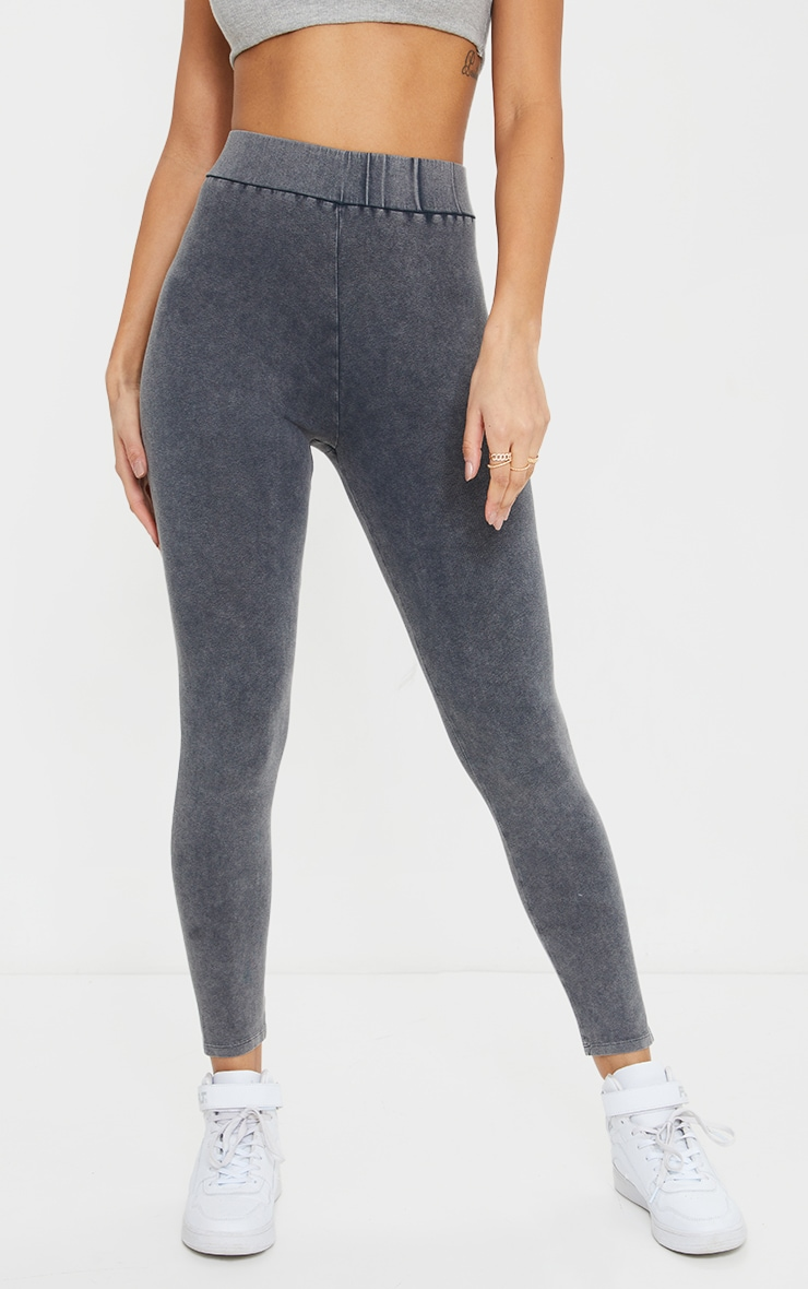 Charcoal Washed Effect Stretch Leggings 2