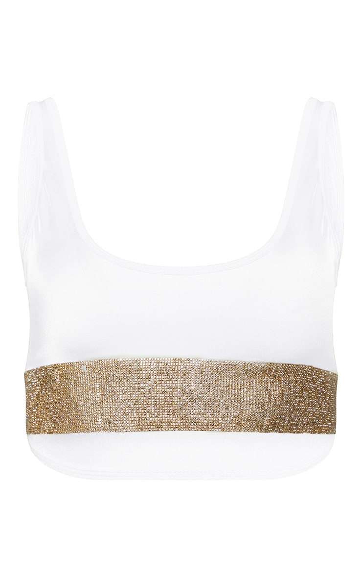 Cream Diamante Scoop Neck Bikini Top 3
