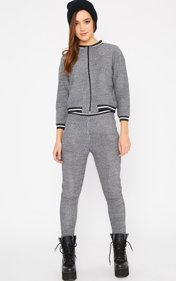 Hollie Grey Boucle Sporty Knitted Bomber 6