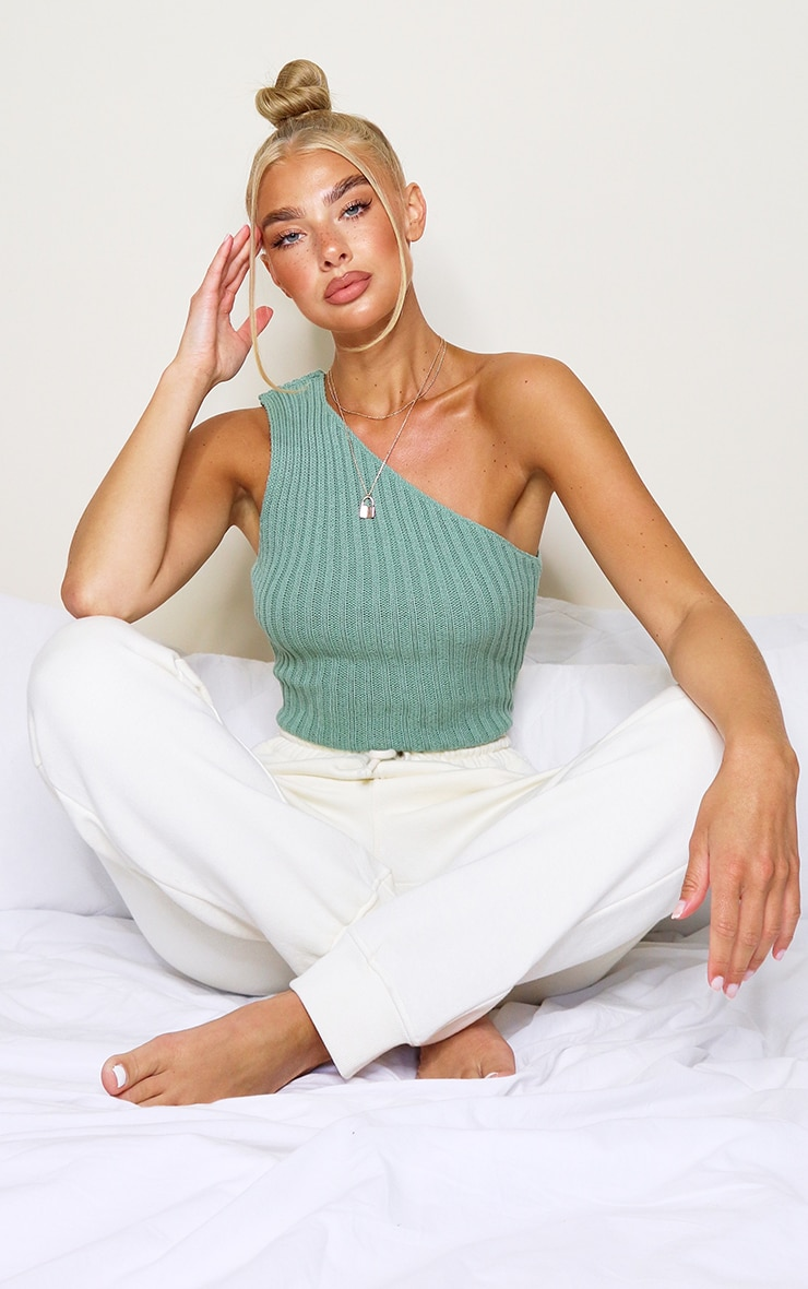 Green One Shoulder Knitted Crop Top 3
