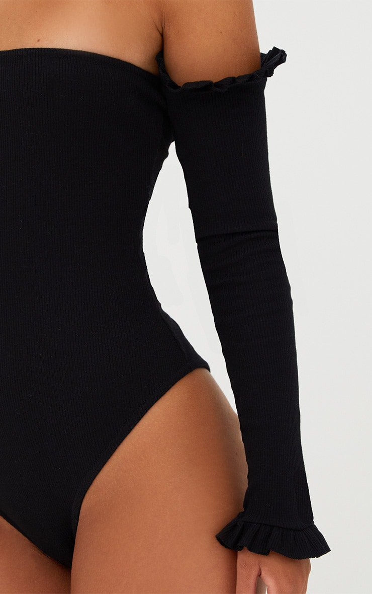 Black Bardot Jersey Rib Frill Sleeve Thong Bodysuit 6