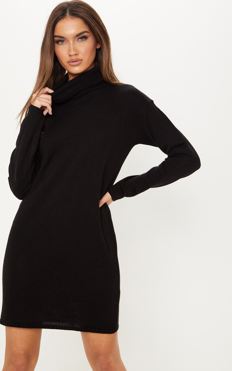 Black High Neck Knitted Jumper Dress