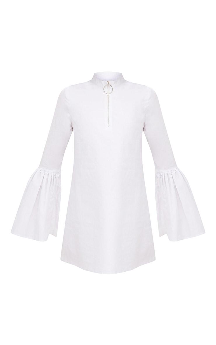 White Cotton Flared Sleeve Shift Dress 3