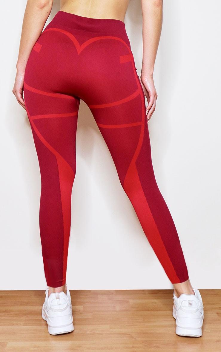 Red Colour Block Seamless Gym Leggings 3