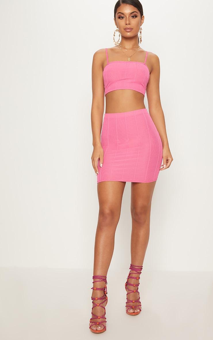 Hot Pink Bandage Mini Skirt  5