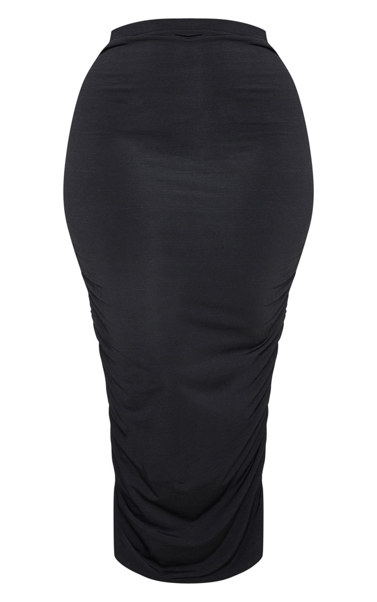 Plus Black Slinky Ruched Midi Skirt 3