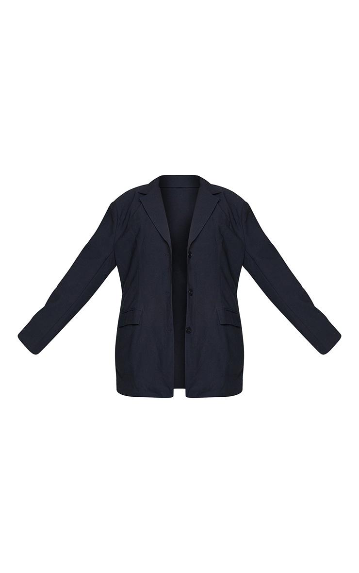 Plus Black Linen Pocket Detail Triple Button Shoulder 5