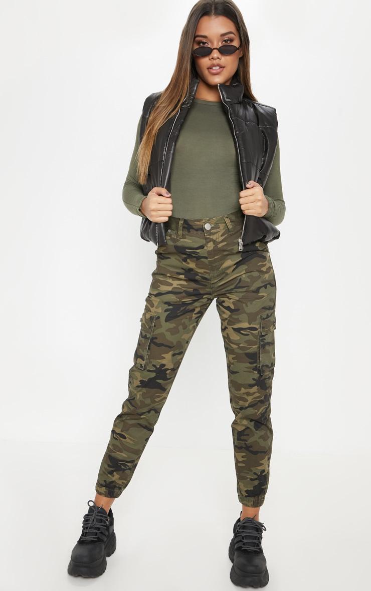 Jean cargo camouflage kaki à poches