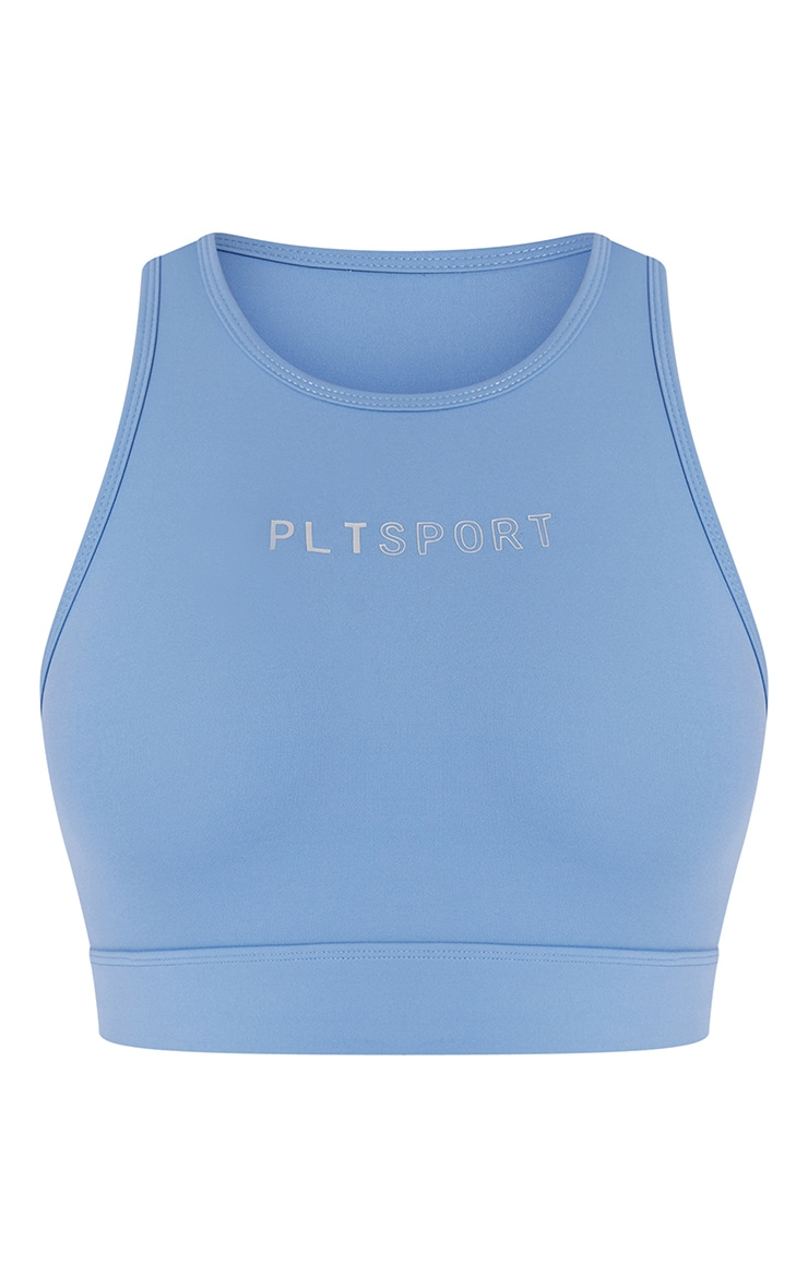 PRETTYLITTLETHING Dusty Blue Sculpt Luxe Cropped Gym Top 5