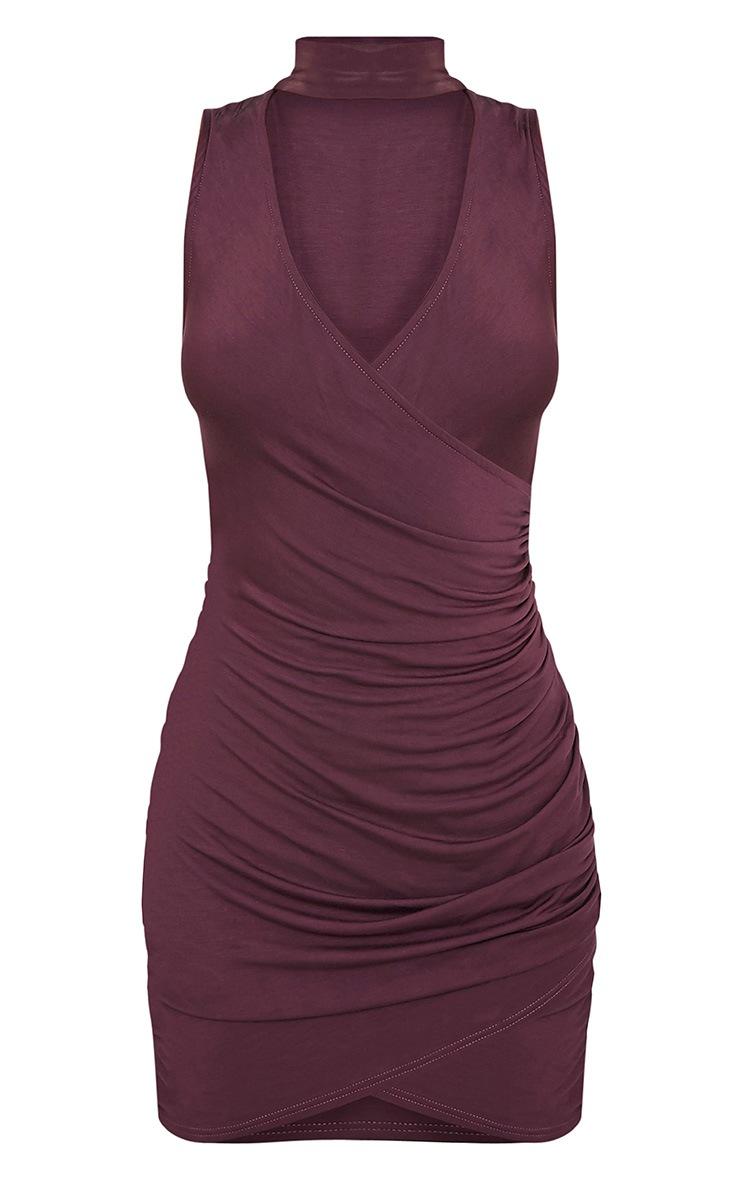 Amaris Aubergine Choker Detail Ruched Bodycon Dress 3