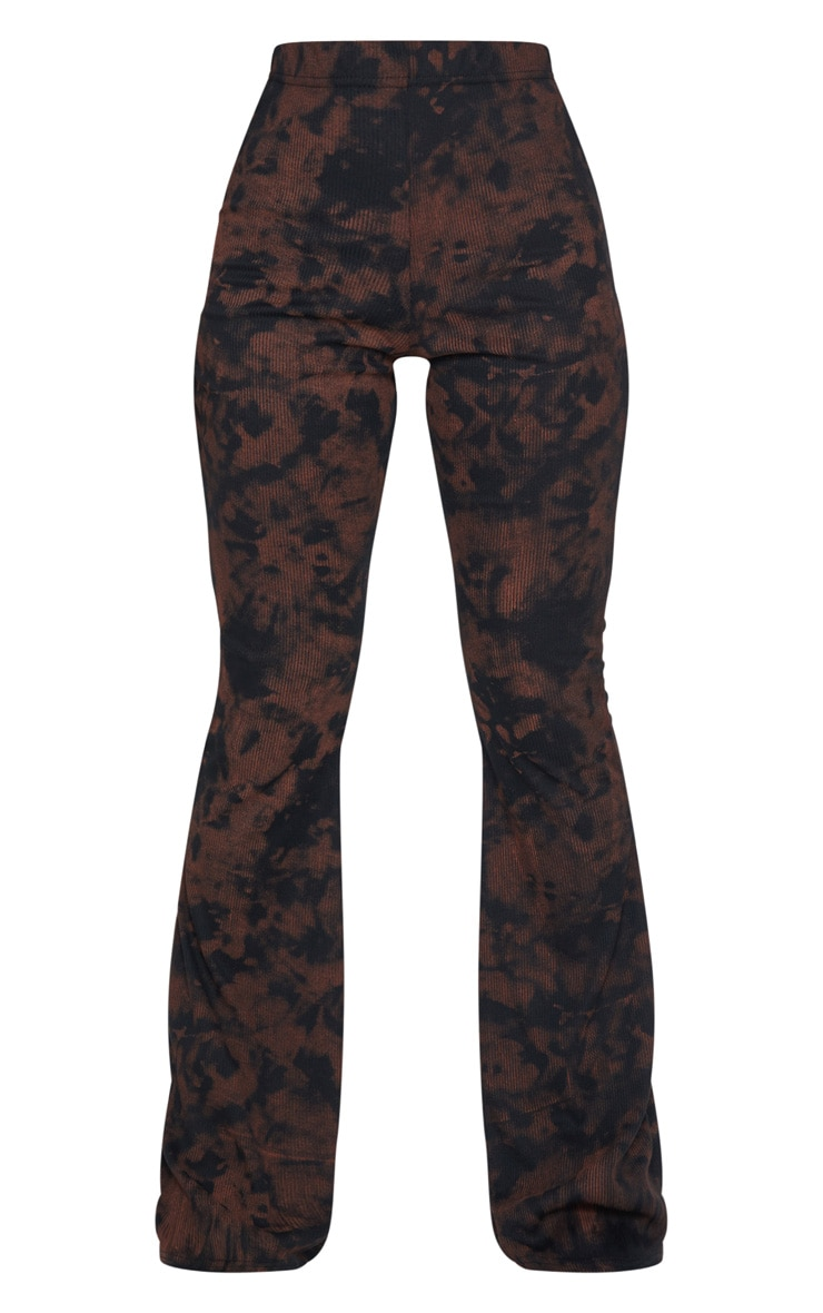 Rust Tie Dye Ribbed Flared Trousers 5