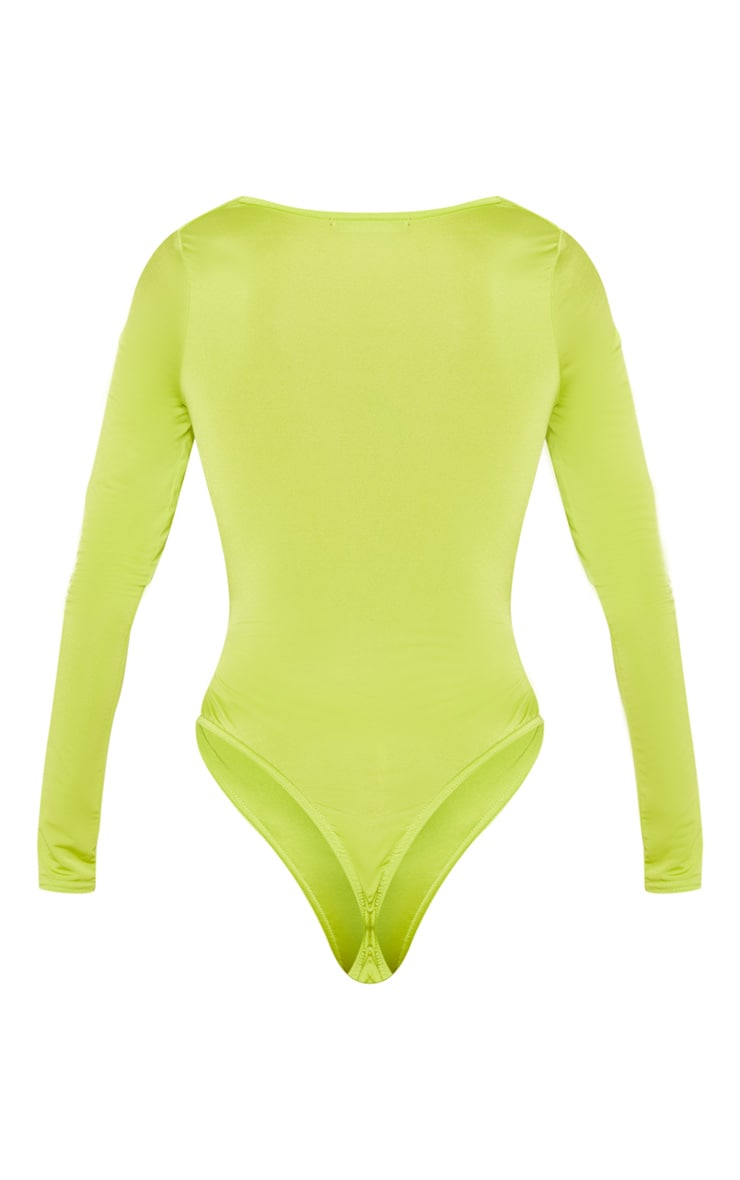 Lime Slinky Cowl Neck Long Sleeve Bodysuit 4