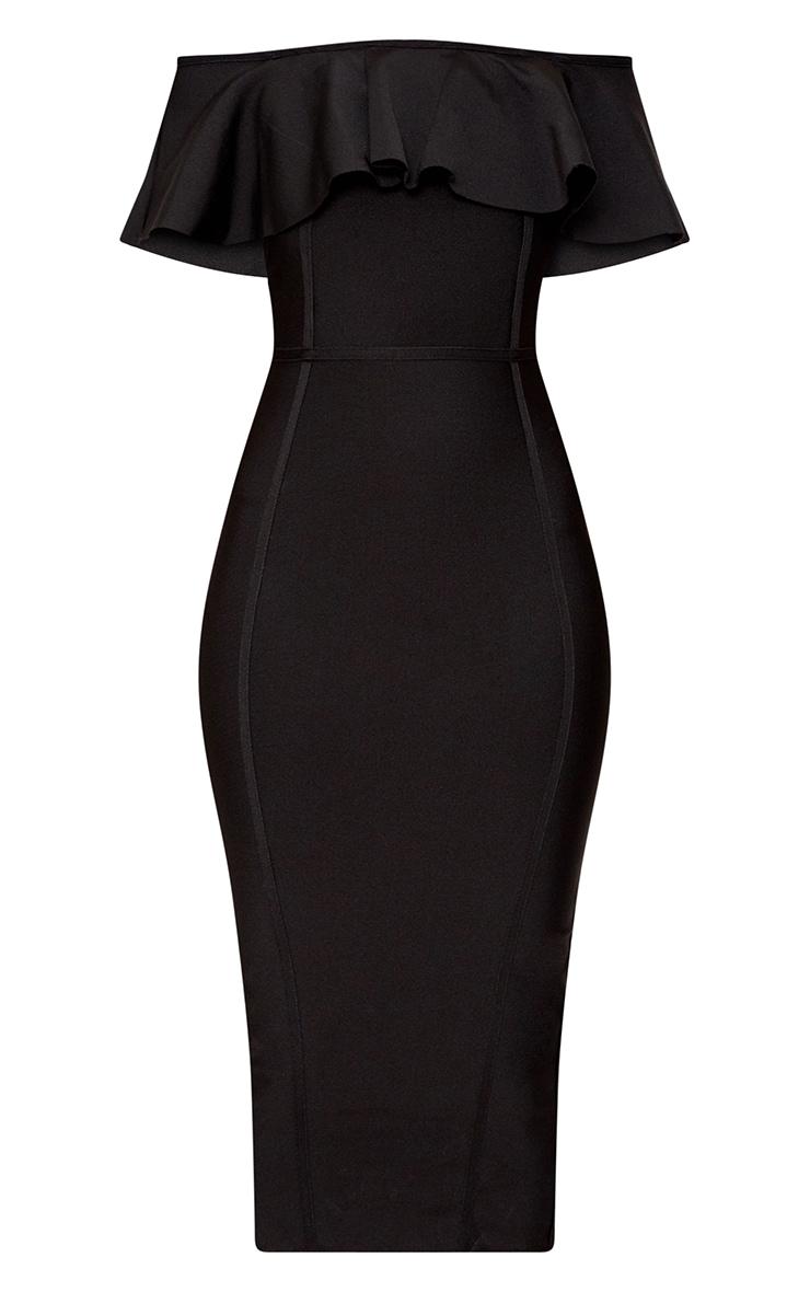 Black Bandage Frill Bardot Midi Dress 3