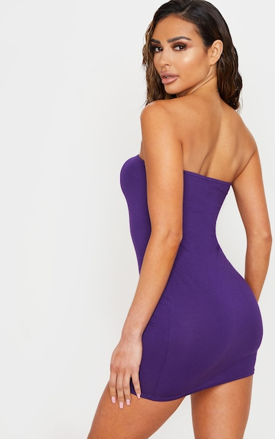 Purple Basic Bandeau Bodycon Dress