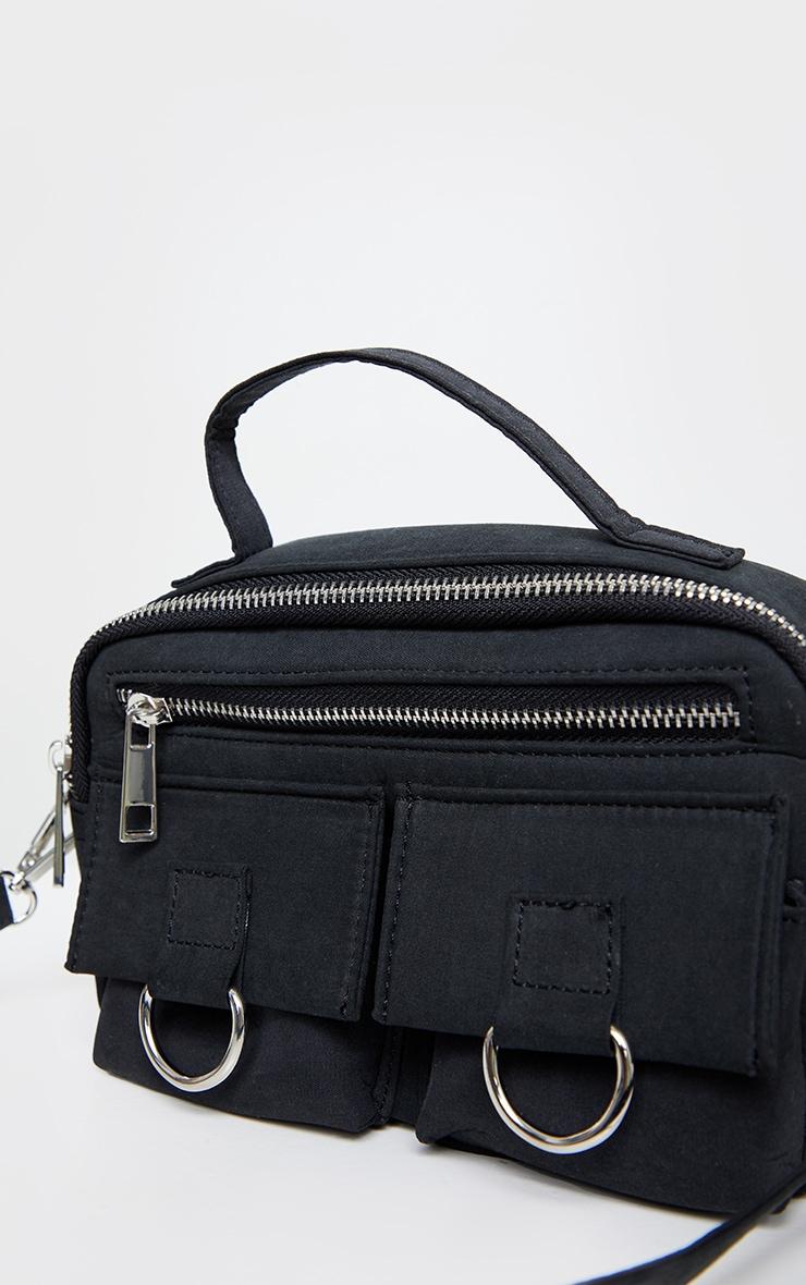 Black Rectangle Silver Ring Cross Body Bag 4