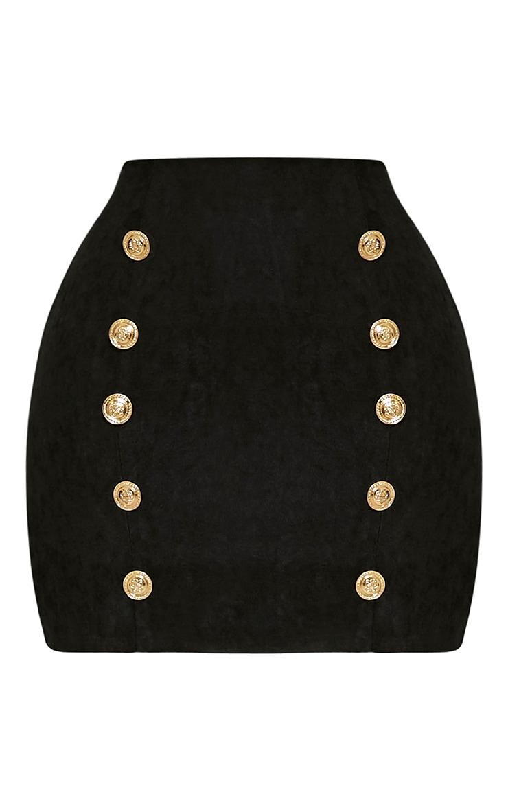 Bette Black Button Detail Mini Skirt 5