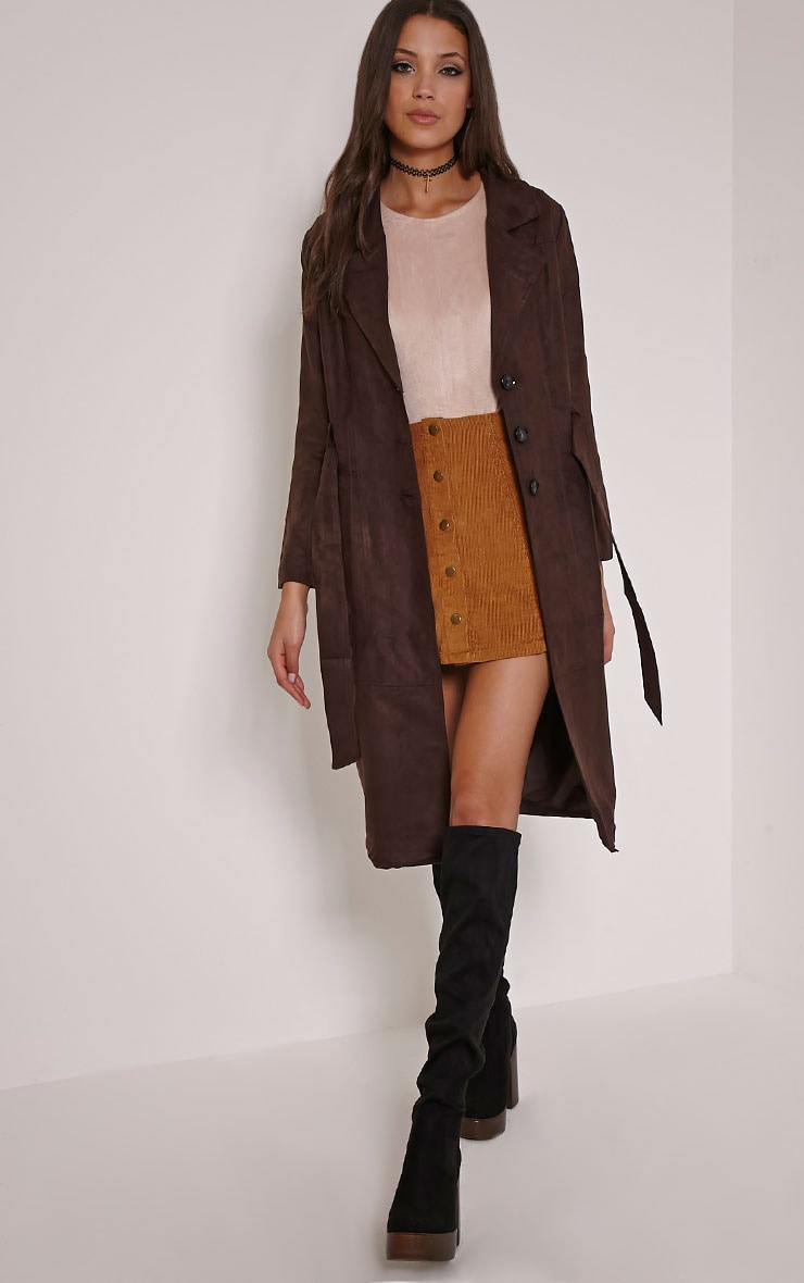 Elinor Chocolate Faux Suede Trench Coat 4