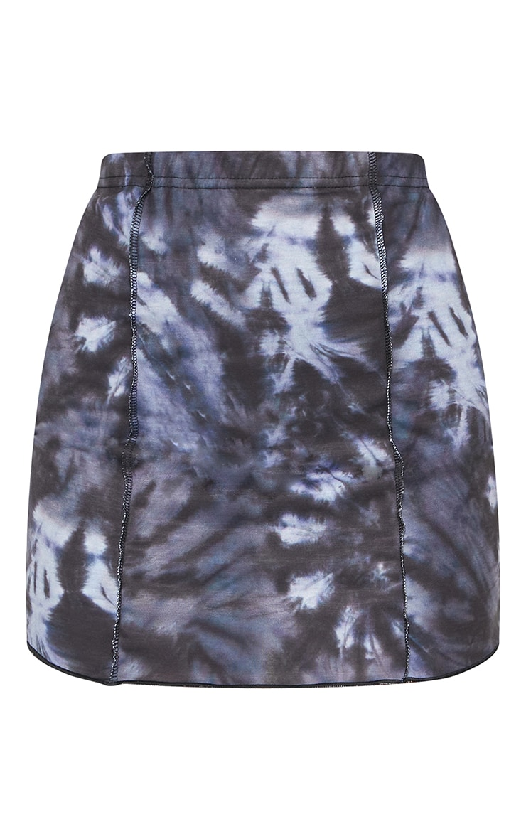 Navy Tie Dye Seam Detail Mini Skirt 5