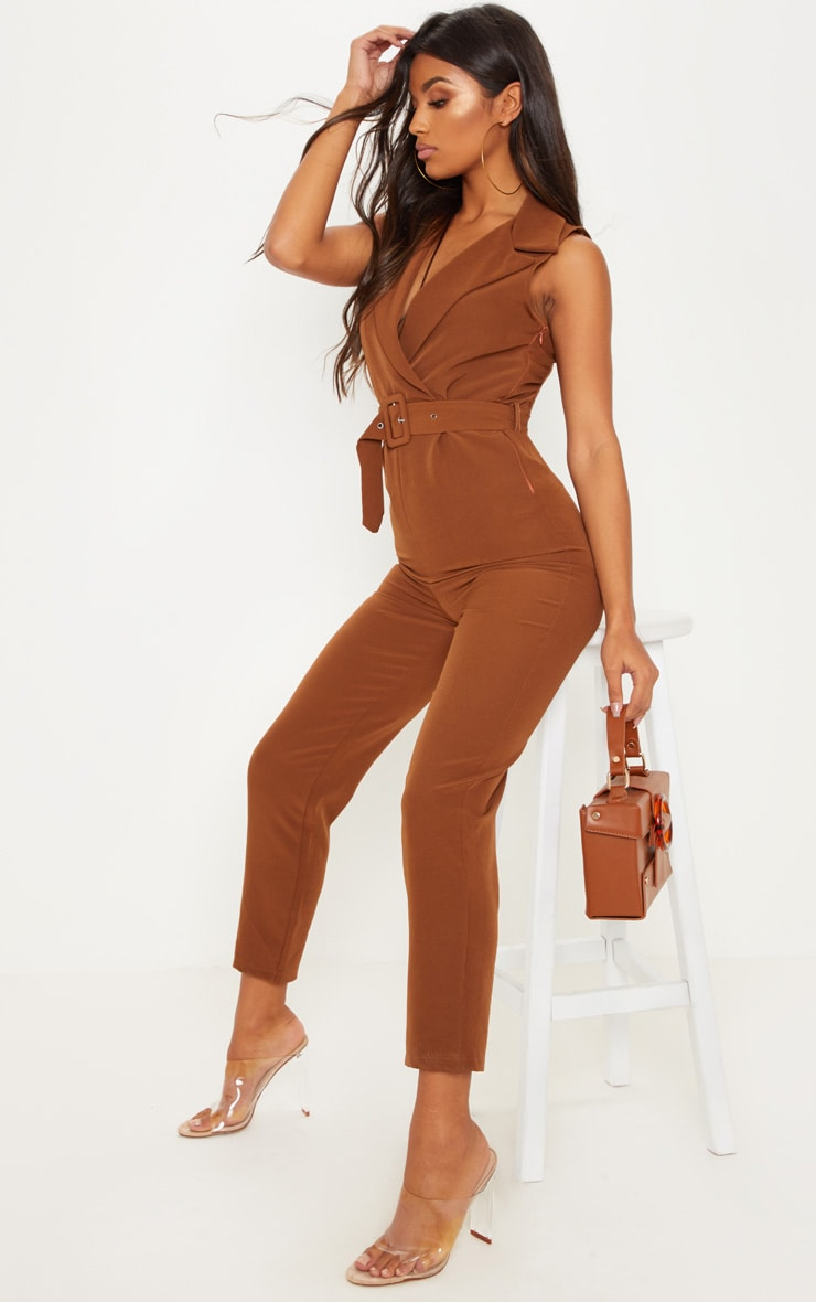 Brown Woven Collar Buckle Front Jumpsuit 4