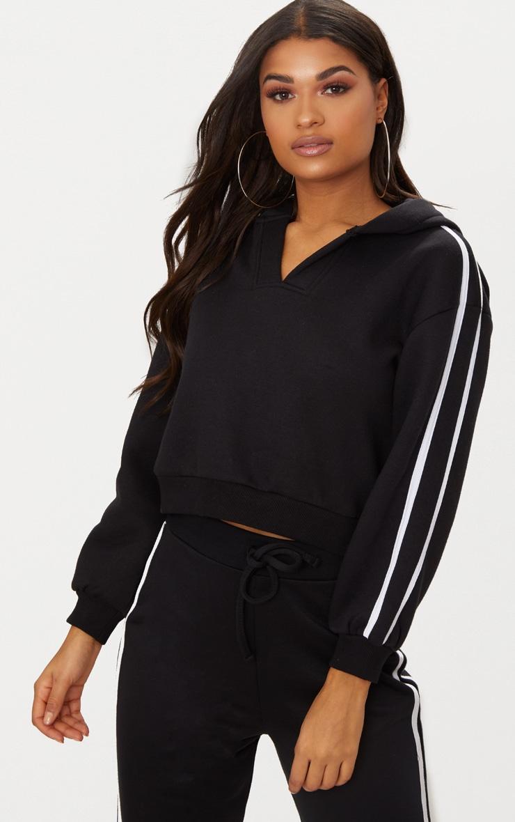 Black Sport Stripe Crop Hoodie  4