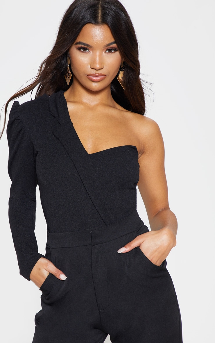 Black One Shoulder Blazer Detail Bodysuit 1