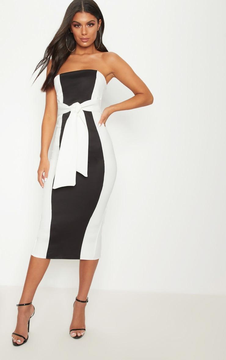Monochrome Colour Block Tie Detail Midaxi Dress 1