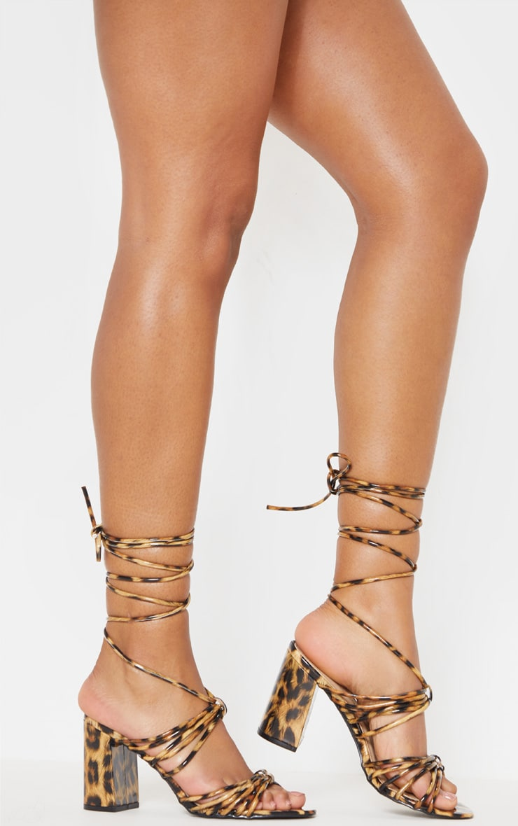 Leopard Strappy Lace Up Block Heel Sandal 2