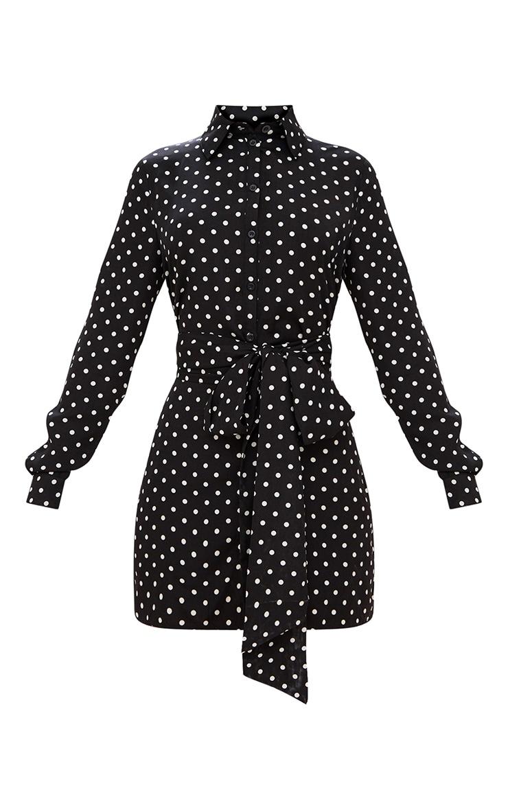 Black Polka Dot Wrap Around Shirt Dress 3