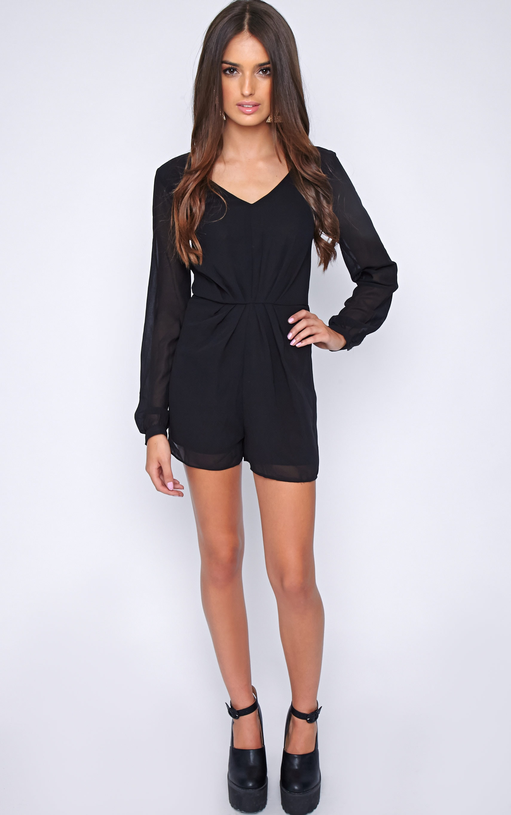 Alexandra Black Chiffon Playsuit 3
