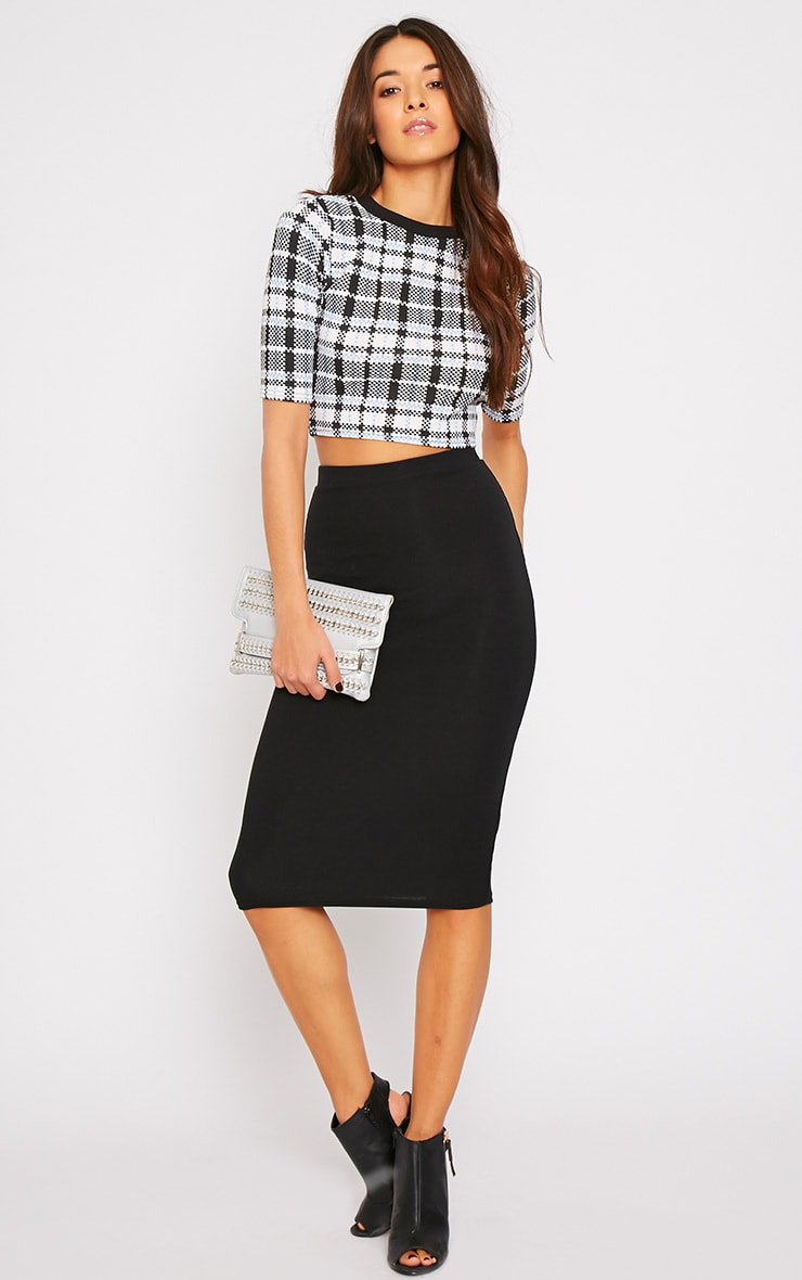 Mabel High Neck Checked Crop Top 3