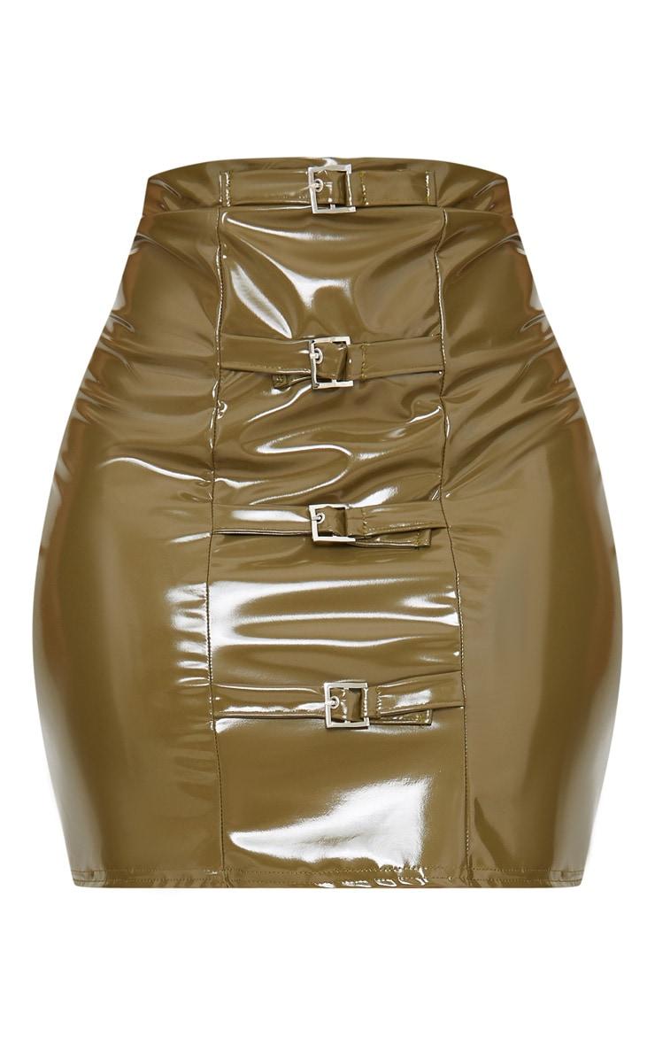 Plus Khaki Vinyl Buckle Detail Bodycon Skirt 3