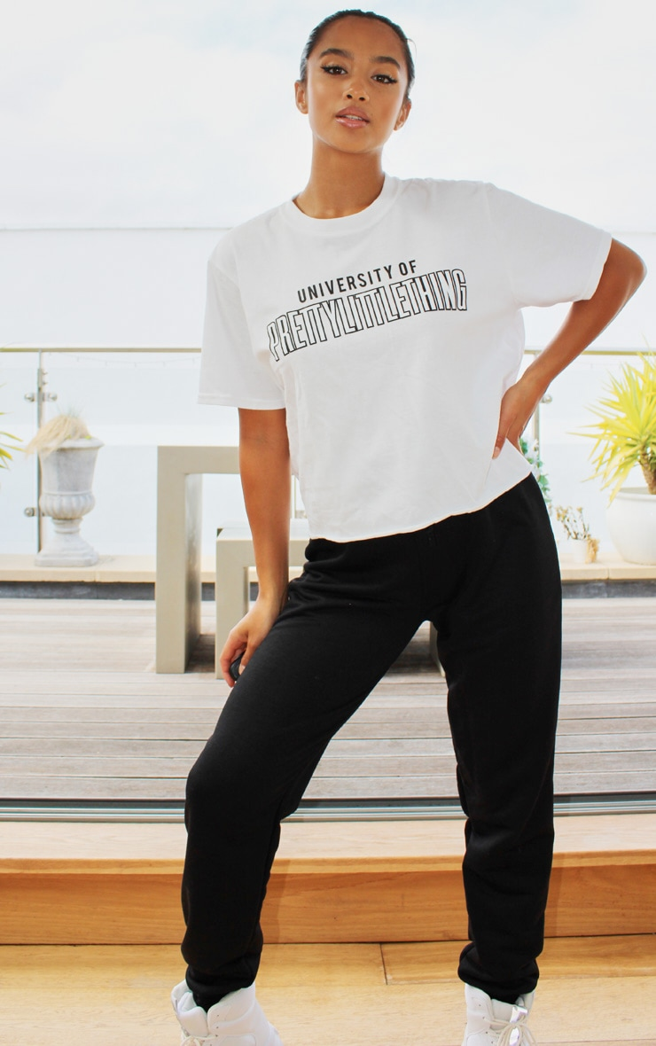 PRETTYLITTLETHING White University Cropped T shirt 3