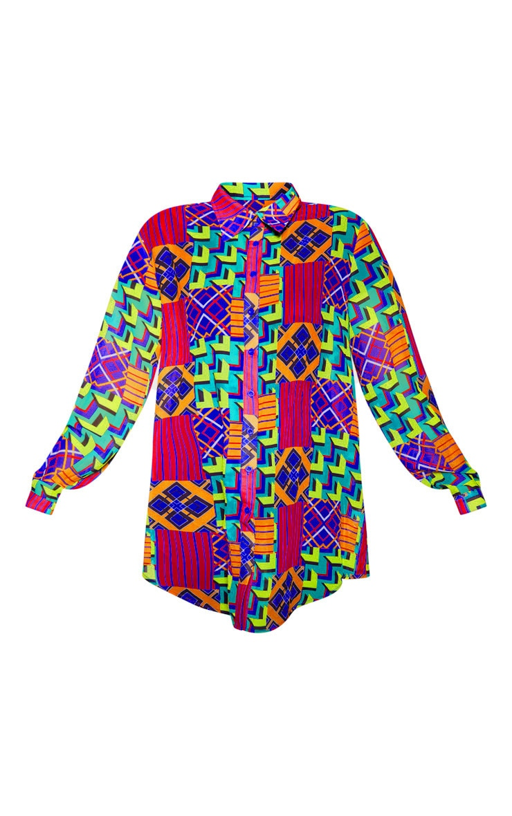 Multi Geo Print Beach Shirt 3