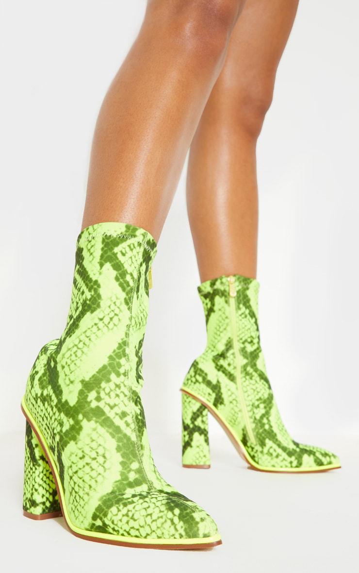 Bottes-chaussettes serpent à liserés contrastants fluo & gros talon 2