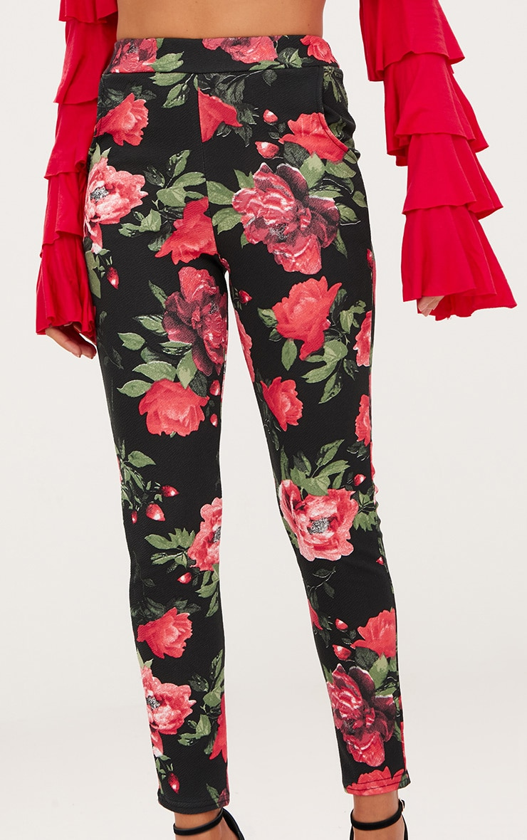 Red Floral Skinny Trousers 5