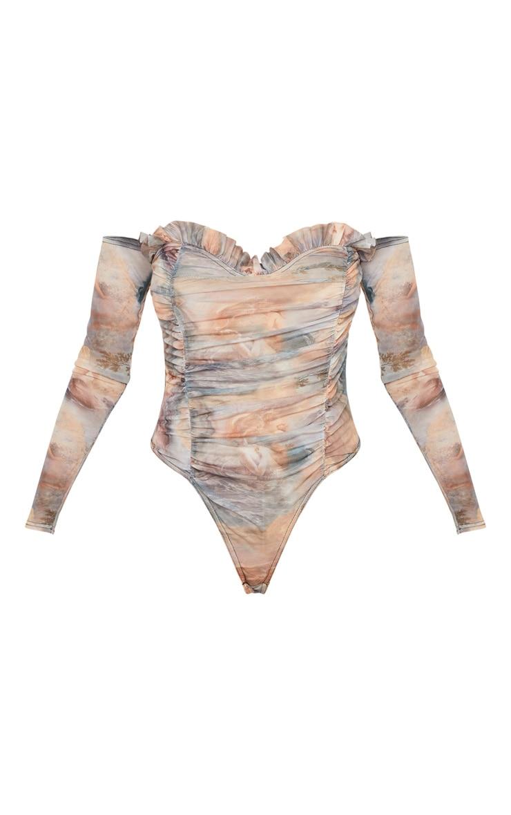 Multi Water Renaissance Printed Mesh Ruched Bardot Bodysuit 3