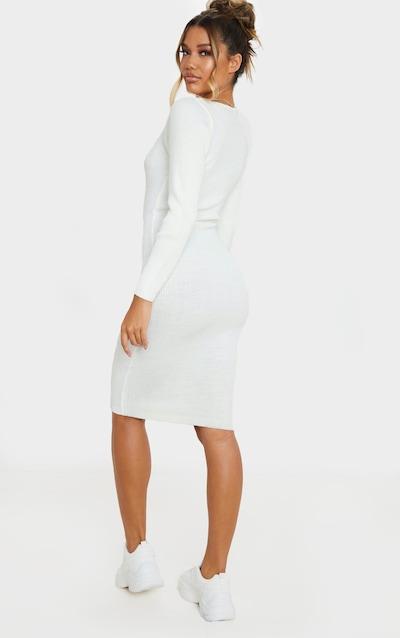 Cream V Neck Knitted Midi Dress