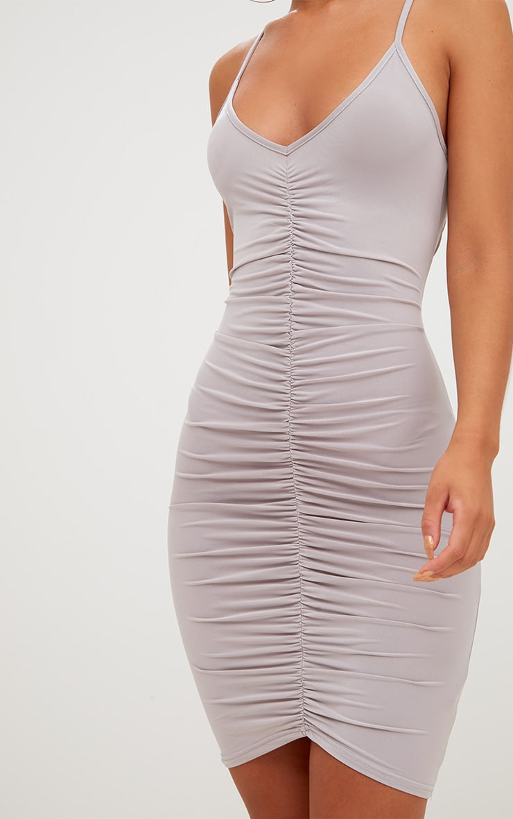 Ice Grey Slinky Ruched Strappy Bodycon Dress 5