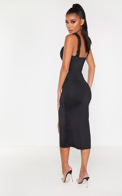Black Ruched Cup Split Detail Midi Dress