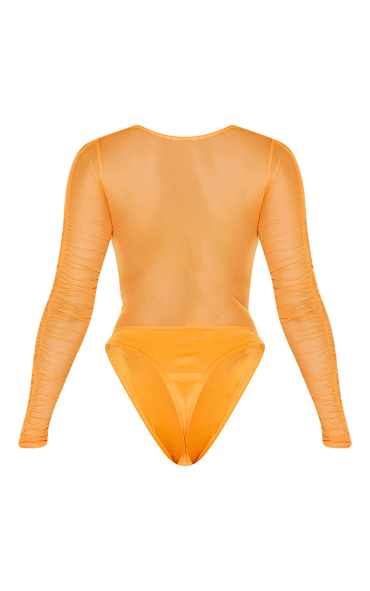 Hot Orange Mesh Ruched Square Neck Bodysuit 6