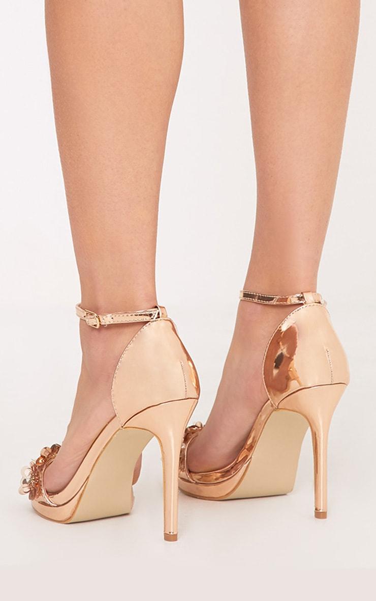 Ayshea Rose Gold Embellished Strappy Heels 4