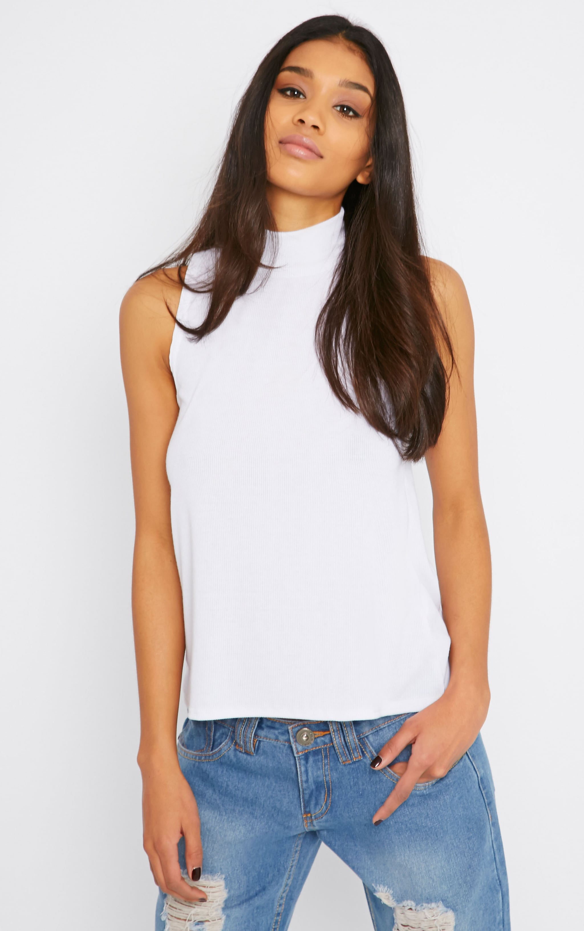 Basic White Sleeveless Turtle Neck Top 4