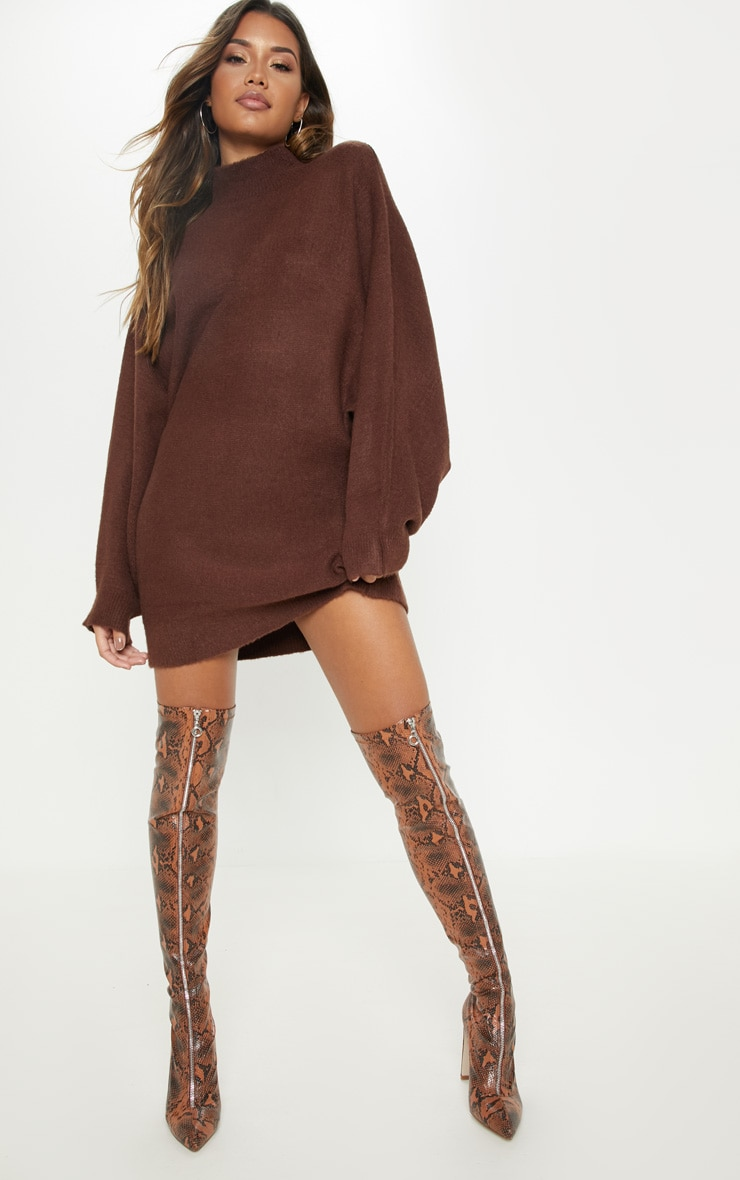 Robe pull oversized marron chocolat